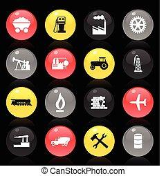 iparág, gyűjtés, gombok, háttér., téma, vektor, fekete, ábra