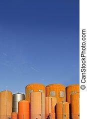 iparág, narancs, üveggyapot, folyékony, konténer, henger