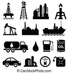 iparág, olaj, állhatatos, ikon