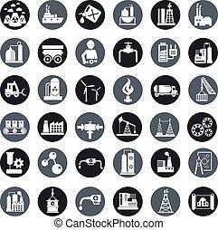 iparág, vektor, állhatatos, gyár, ikonok