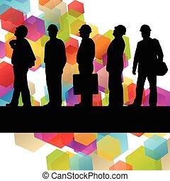 ipari, ügy emberek, elvont, munkás, ábra, körvonal, szerkesztés, háttér, aktivál, konstruál
