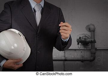 ipari, csövezés, adottság, víz, fogalom, takarítás, hulladék, konstruál