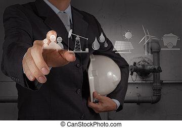 ipari, csövezés, dolgozó, adottság, víz, fogalom, takarítás, új, hulladék, számítógép, konstruál
