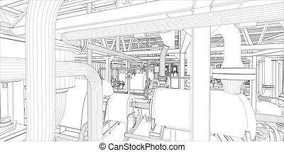 ipari, equipment., wire-frame, render, 3