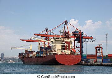 ipari, konténer, (logos, nagy, dokk, removed), brandnames, hajó, rév