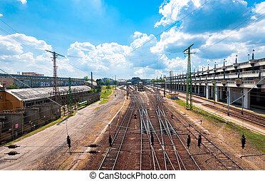 ipari, pályaudvar, felül