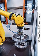 ipari, robotic, technology., modern, automatizált, termelés, cell., kar