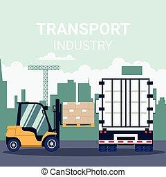 ipari szállít, konténer, logisztika, teherkocsi terhelés, targonca, szalmaágy