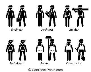 ipari, women., foglalkozás, dolgok, művek, szerkesztés