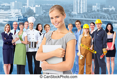 ipari, workers., nő, csoport, ügy