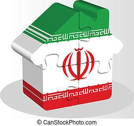 iráni, épület, rejtvény, lobogó, otthon, ikon