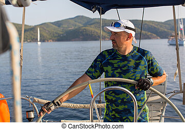 irányít, vitorlázás, figyelmetlen ember, tenger, csónakázik, ember