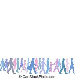 irány, csoport, emberek elpirul, jár, követ, vezető