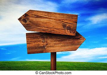 irány, ellentétes, fából való, aláír, falusias, mező, tiszta, füves táj