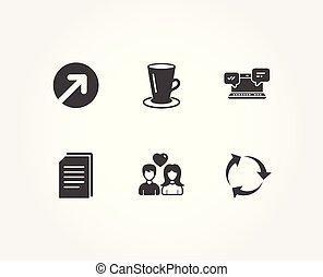 irány, szeret, állományokat, párosít, icons., teáscsésze, internet, újra hasznosít, másol, signs., csevegés