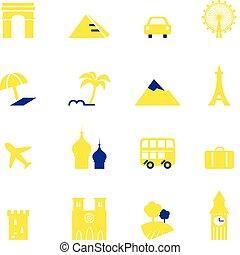 iránypont, ikonok, szünidő, elszigetelt, utazás, gyűjtés, &, fehér