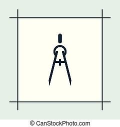 iránytű, vektor, oktatás, ábra, ikon