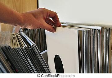 irattár, vinyl, legelészés