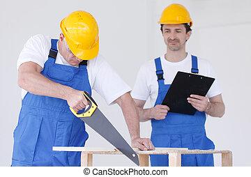 irattartó, fűrész, két, workmen
