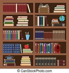 irodalom, könyvesbolt, retro, bookshelf., pattern., könyvtár, képeslapok, izbogis, háttér, egyetem, könyvszekrény, öreg, vektor, tudomány, kazal, könyv, főiskola, vagy, előjegyez, tankönyv, iskolakönyvek, szótár, seamless