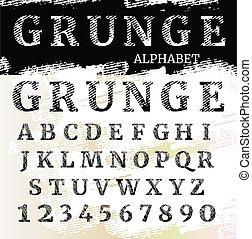 irodalomtudomány, alphabet., textured, grunge, font., numbers.