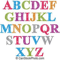 irodalomtudomány, forgatókönyv, abc, set., vektor, kézírásos