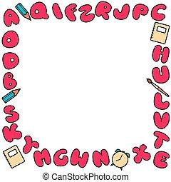 irodalomtudomány, frame., gyerekek, felírások, színezett, abc, állhatatos, design., fényes, többszínű, buborék, ábécé