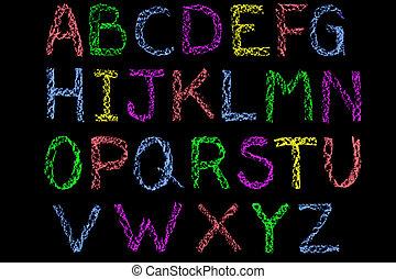 irodalomtudomány, kréta, tábla, kézírásos, színezett, abc