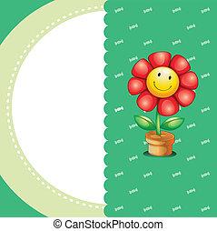 irodaszer, mosolygós, virág
