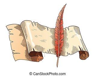 irodaszer, szüret, írás, munka, retro, books., költészet, quill., oktatás, öreg, vagy, pergament, újság indadísz, antik, paper., vektor
