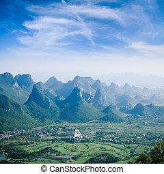 irtókapa, guilin, hegy parkosít, dombok, gyönyörű