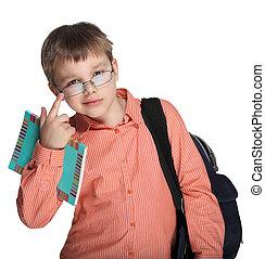 iskolás gyerek, szemüveg
