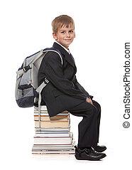 iskolásfiú, előjegyez, ülés