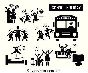iskolások, holiday.