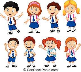 iskolások, karikatúra