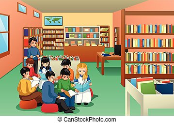 iskola ugrat, csoport, tanulás, ábra, könyvtár