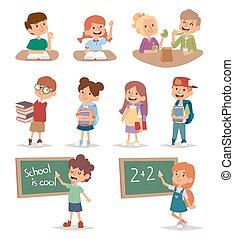 iskola ugrat, csoport, tanul, betű, elemi, haladó, vector., együtt, oktatás, gyermekkor, boldog