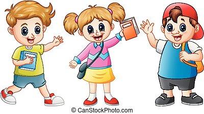 iskola ugrat, karikatúra, boldog