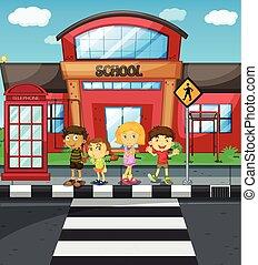 iskola ugrat, kereszt, várakozás, elülső, út