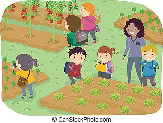 iskola ugrat, stickman, kert, növényi, elgáncsol