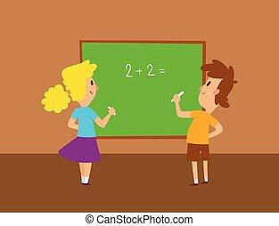 iskola ugrat, tanulás, tanul, betű, elemi, együtt, gyerekek, haladó, vector., oktatás, gyermekkor, boldog