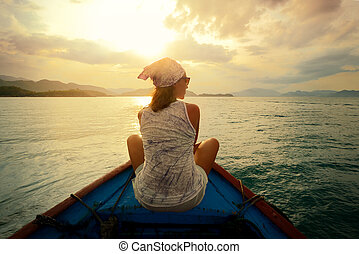 islands., nő, napnyugta, utazó, csónakázik