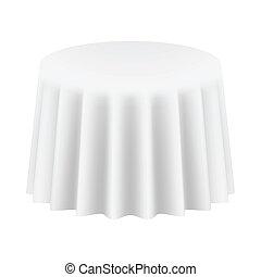 isolated., ábra, vektor, cloth., asztal, kerek, üres
