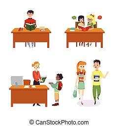 isolated., gyerekek, könyvtár, karikatúra, színek, állhatatos, ábra, lakás