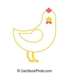 isolated., madár, tanya, háttér, csirke, fehér