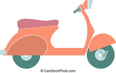 isolated., vektor, karikatúra, színes, motorkerékpár
