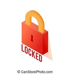 isometric, ábra, lock.