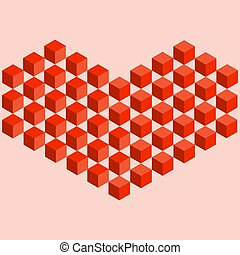 isometric, ábra, szív, piros