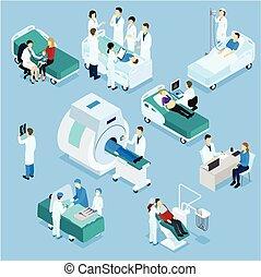 isometric, állhatatos, türelmes, orvos