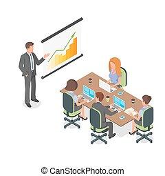 isometric, ügy ábra, vektor, meeting., bemutatás, vagy, 3